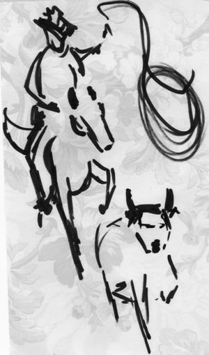 This is a sketch of a vaquero on horseback lassoing a wayward calf on a paper napkin